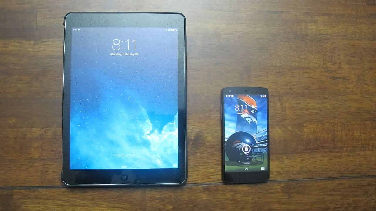 iPad Air and Nexus 5