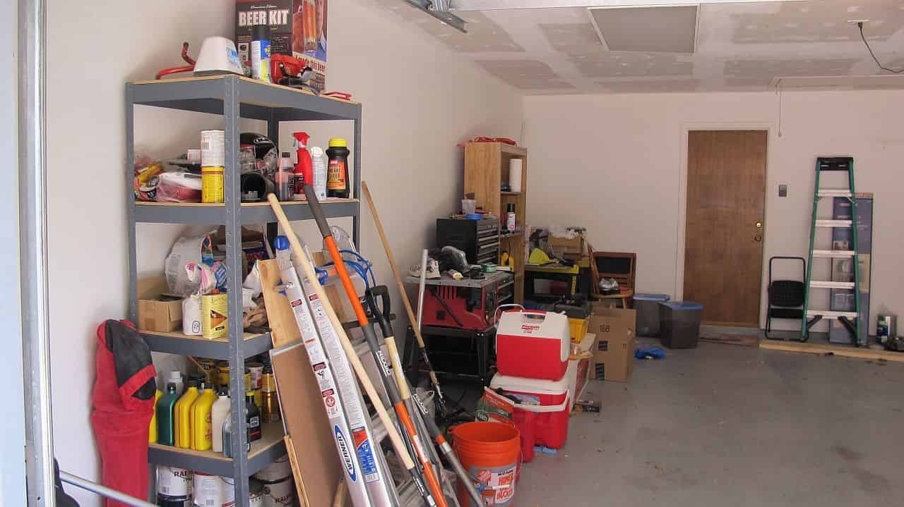 Messy left side of the garage