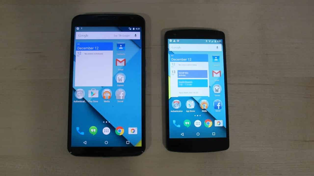 Nexus 5 Comparison - Screens On
