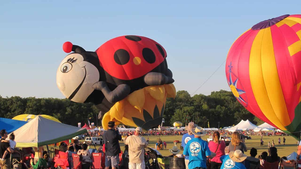 Lady Bug Hot Air Balloon filling up