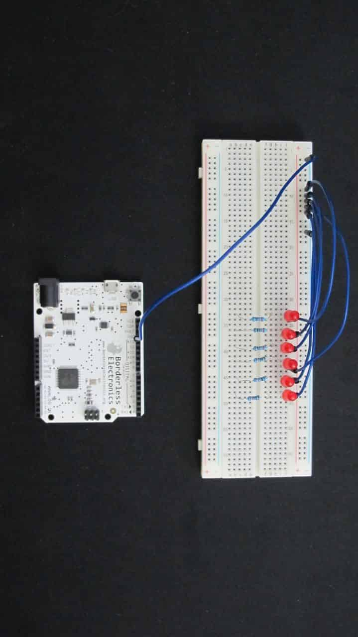 Ground wires connected to Arduino and each LED