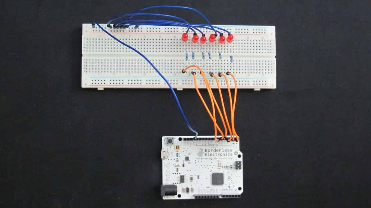Signal wires connected from Arduino to LEDs
