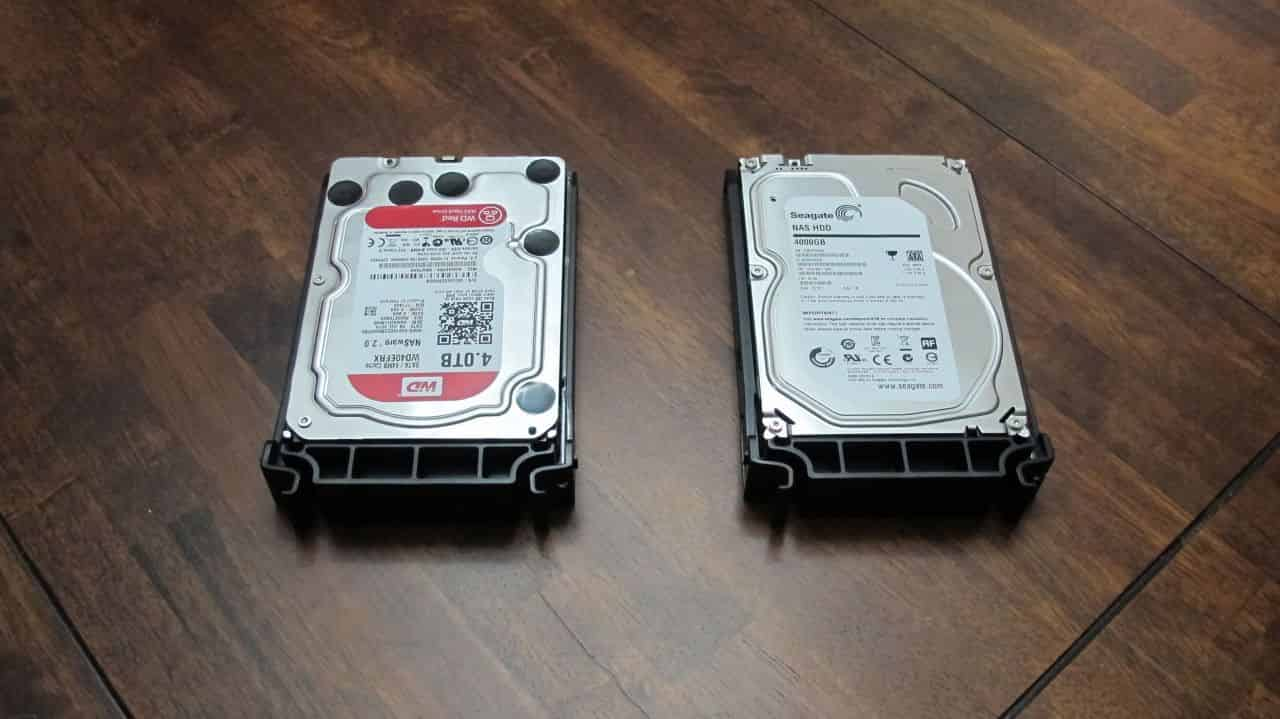 Two HDDs installed in their trays