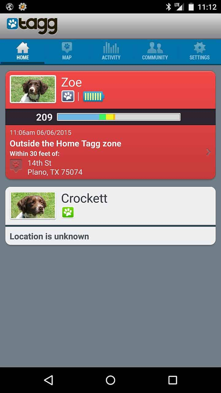 Tagg Tracker Status showing Zoe's status