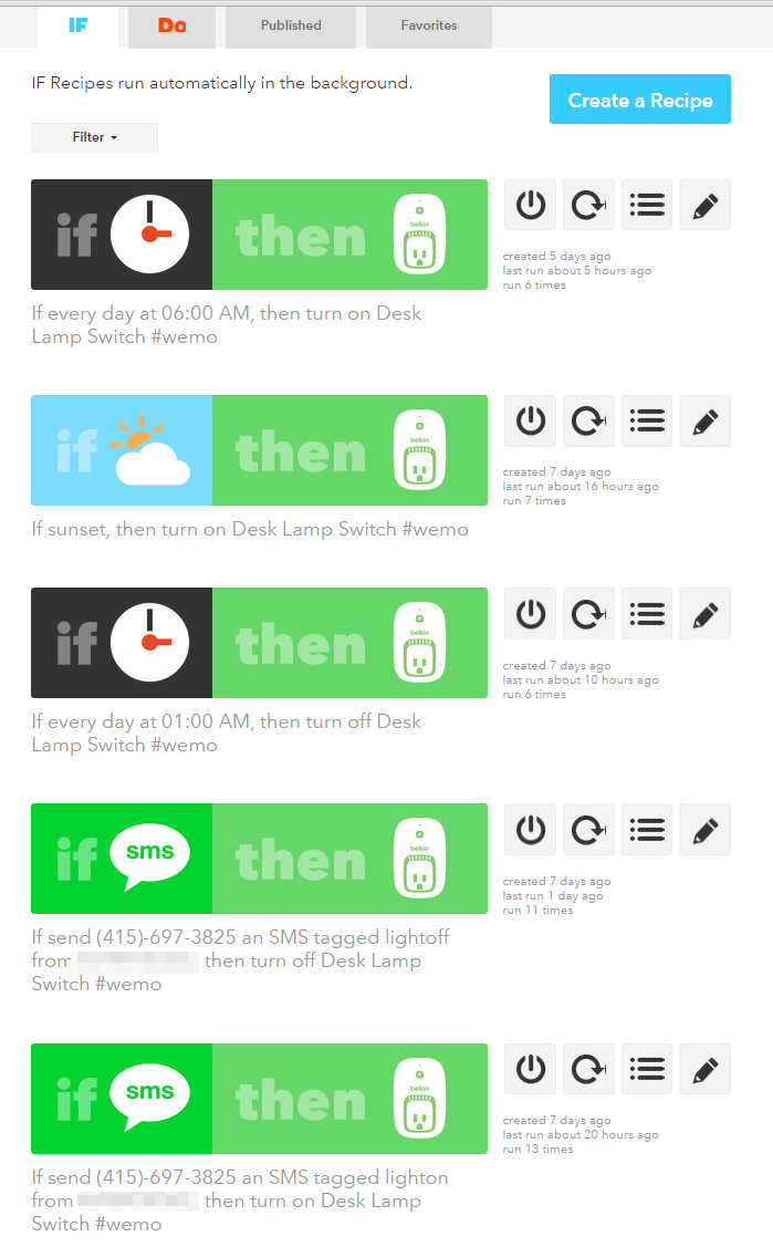 My IFTTT Recipes