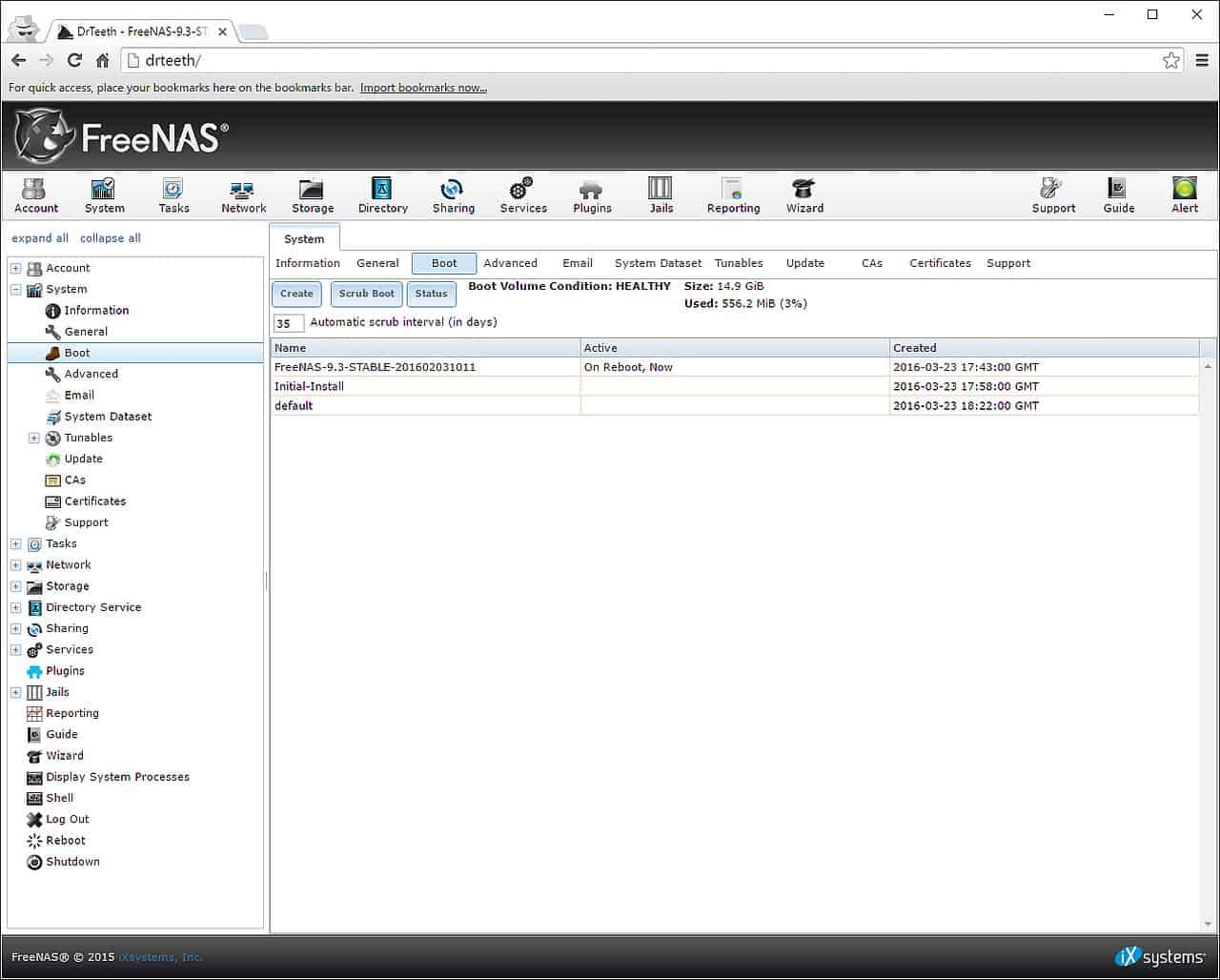FreeNAS Boot Device Info