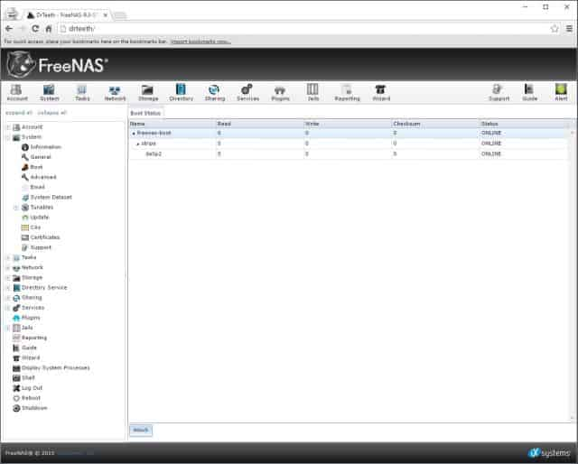FreeNAS Boot Device Status