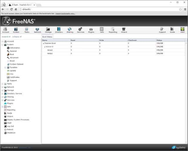 FreeNAS Boot Device Status w/ Added Mirror