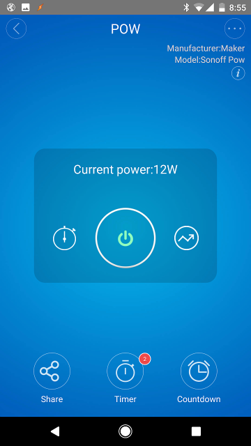 eWeLink: Pow Device Screen w/ Current Power Consumption