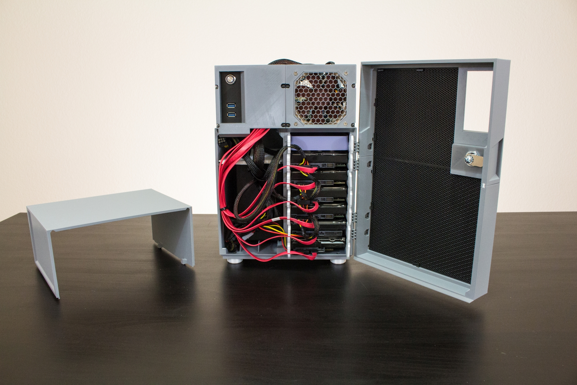 HDDs installed in cage with power and SATA #1