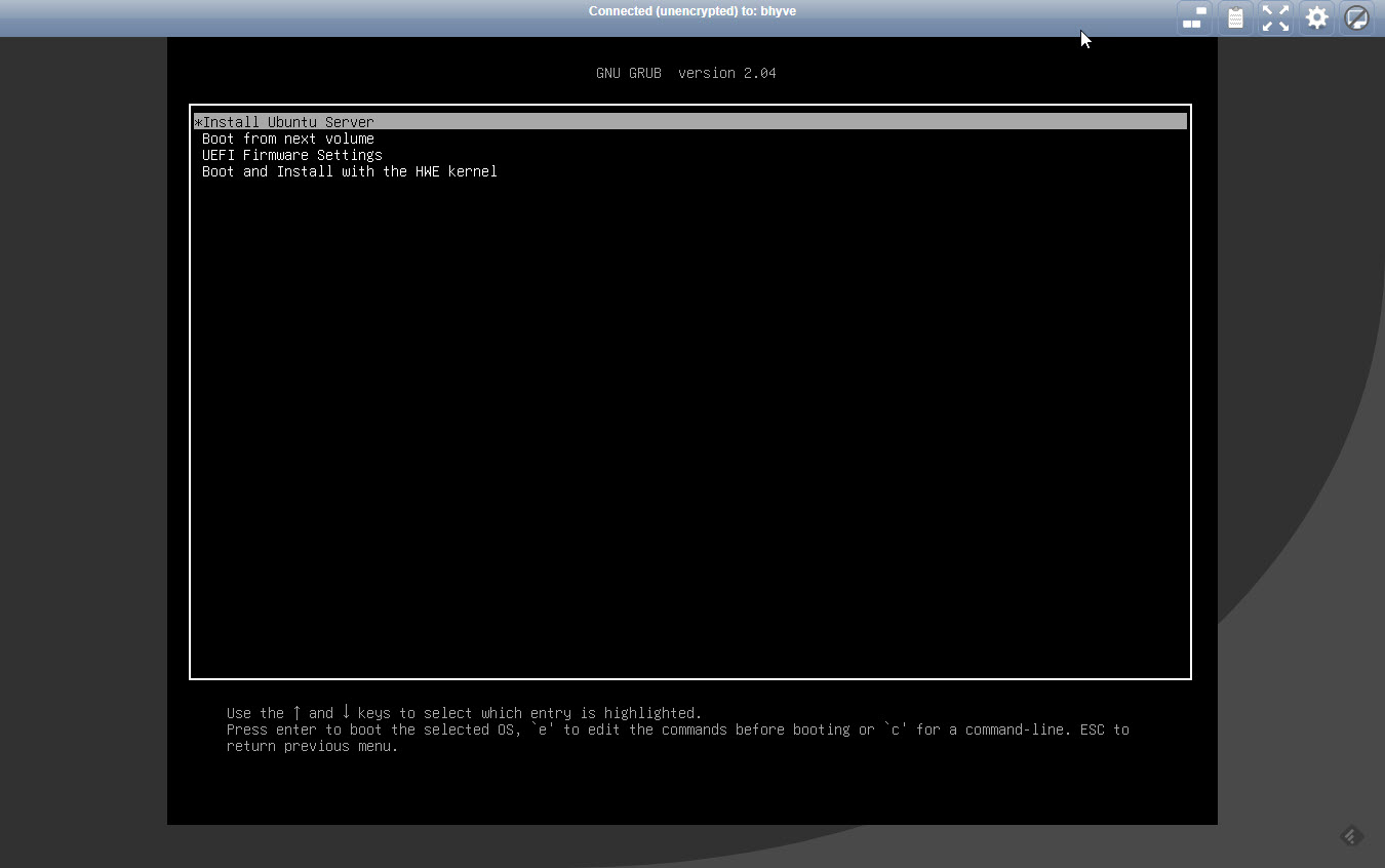 First Boot of the VM in VNC Viewer