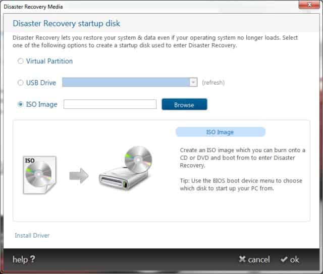 Genie Disaster Recovery Disk creation