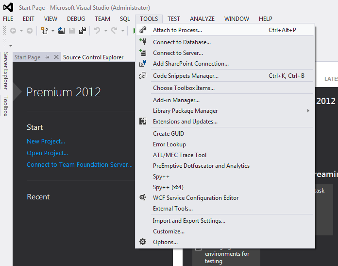 VS2012 Tools Menu