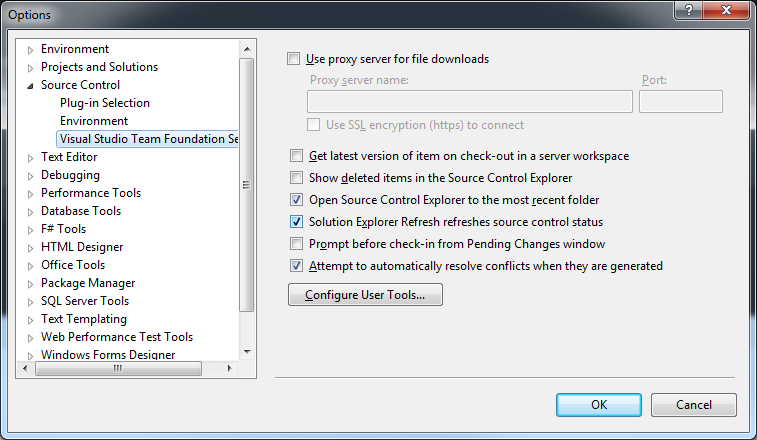 VS2012 Source Control Settings
