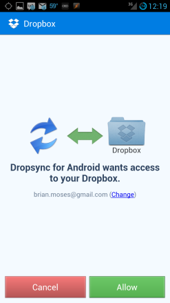 Grant DropBox permissions to DropSync